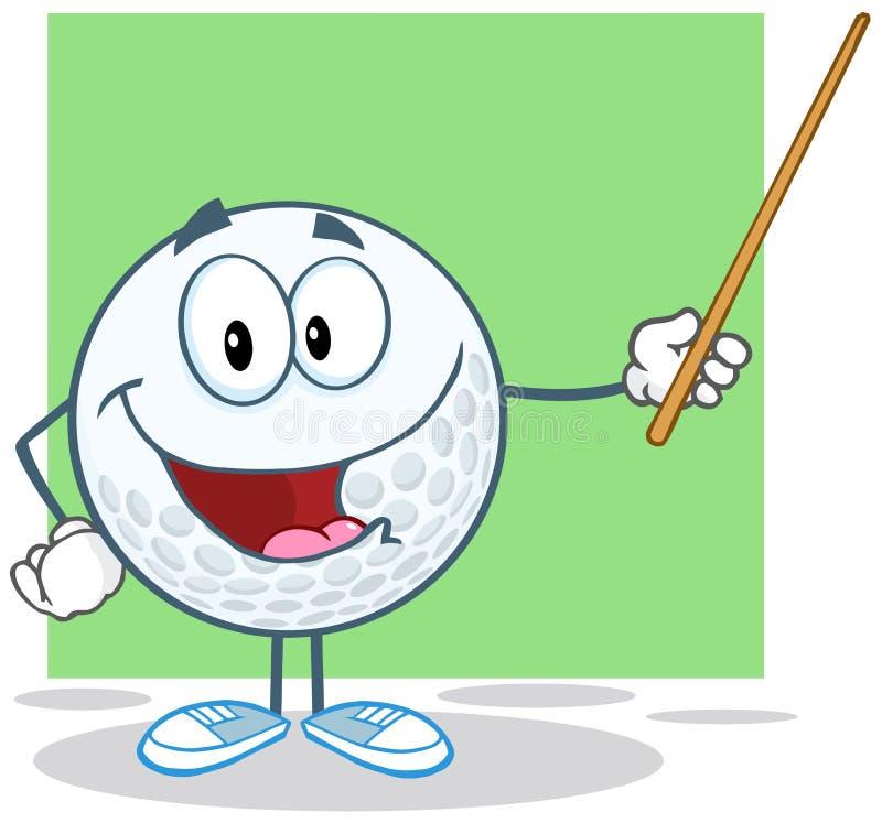 Golfbalkarakter die een Wijzer houden stock illustratie