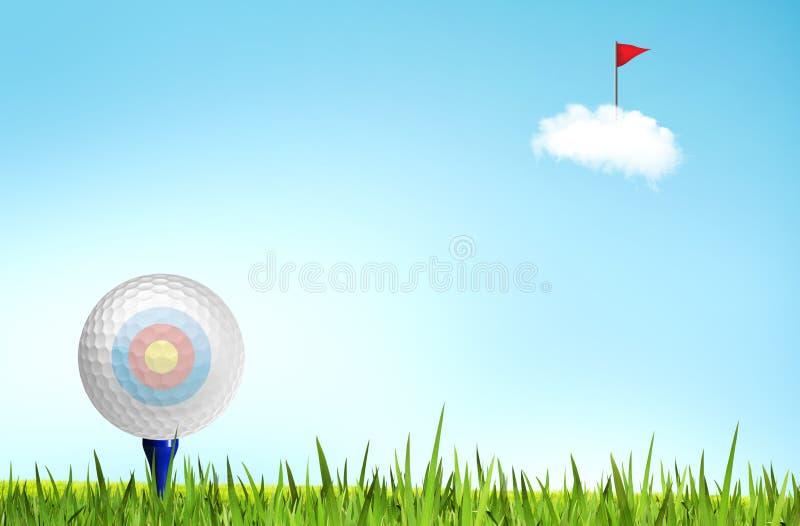 Golfball auf dem T-Stück weg lizenzfreie abbildung