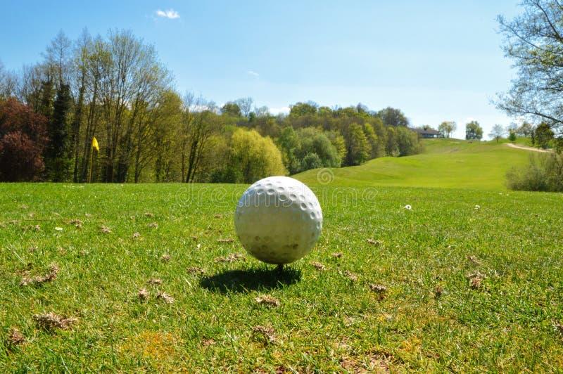 Golfball auf einem Golfplatz lizenzfreie stockfotografie