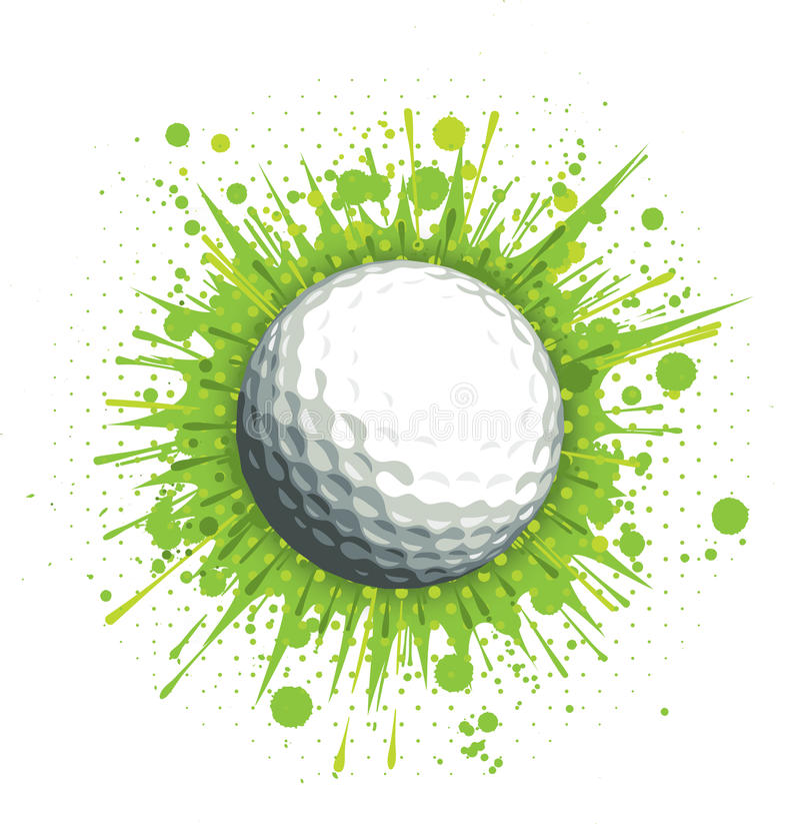 Golfball auf grünem Hintergrund stock abbildung