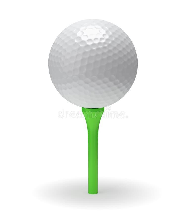 Golfball auf grünem T-Stück lizenzfreie abbildung