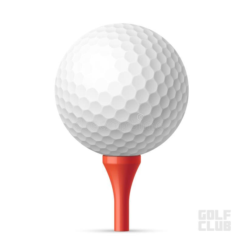 Golfball auf rotem T-Stück vektor abbildung