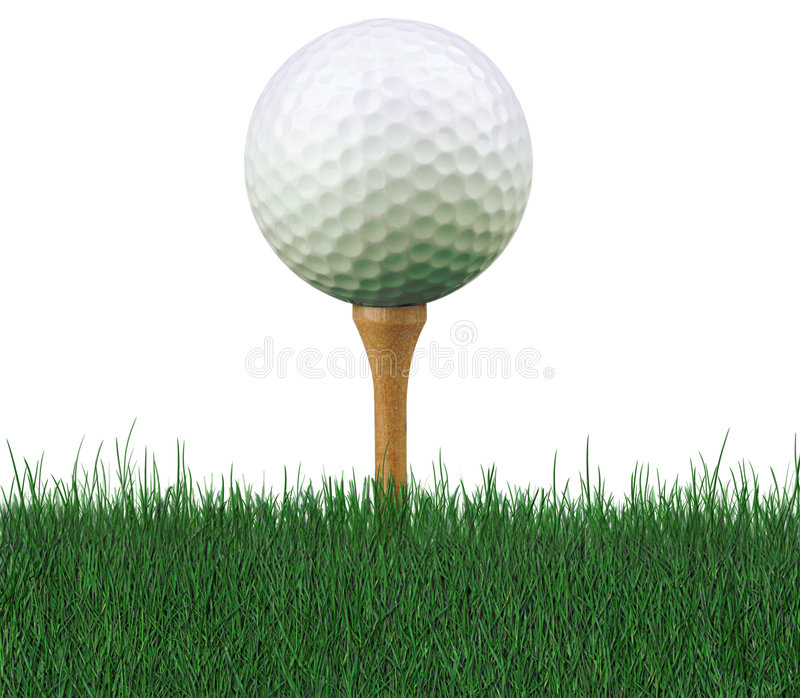 Golfball auf T-Stück stockfoto