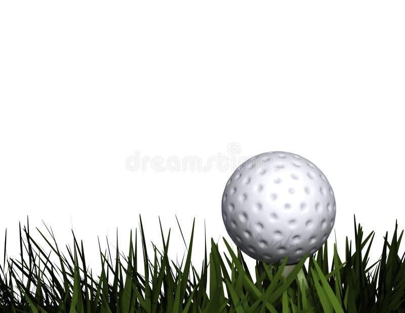 Golfball auf T-Stück im Gras lizenzfreie stockfotografie