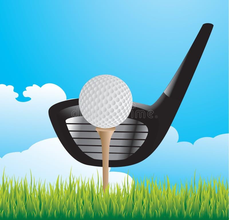 Golfball auf T-Stück mit Klumpen auf Gras lizenzfreie abbildung