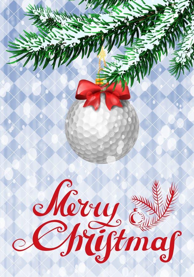 Golfball auf Weihnachtsbaum lizenzfreie abbildung