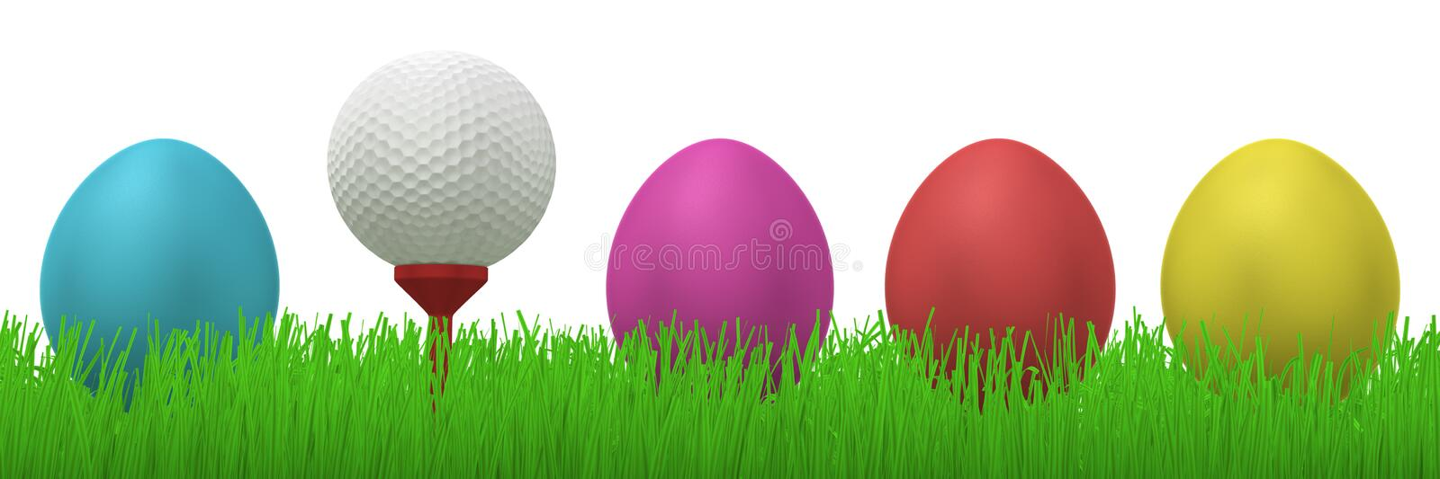 Golfball between easter eggs. 3d illustration of a golfball on a red tee between four colorful easter eggs in grass vector illustration