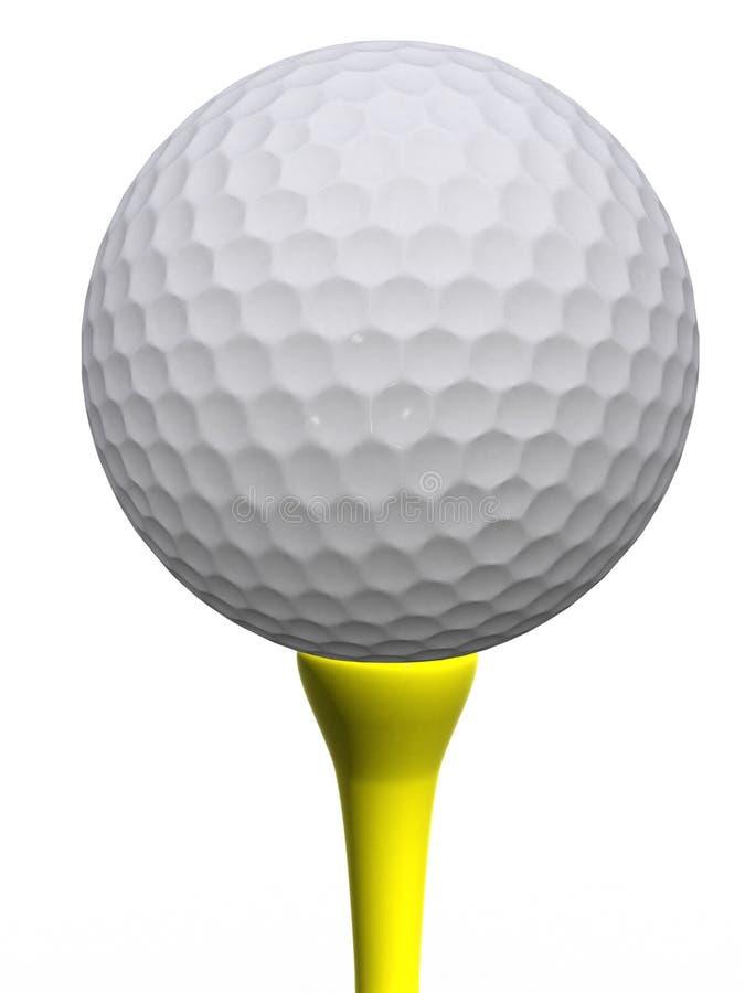 Golfball en geel T-stuk vector illustratie