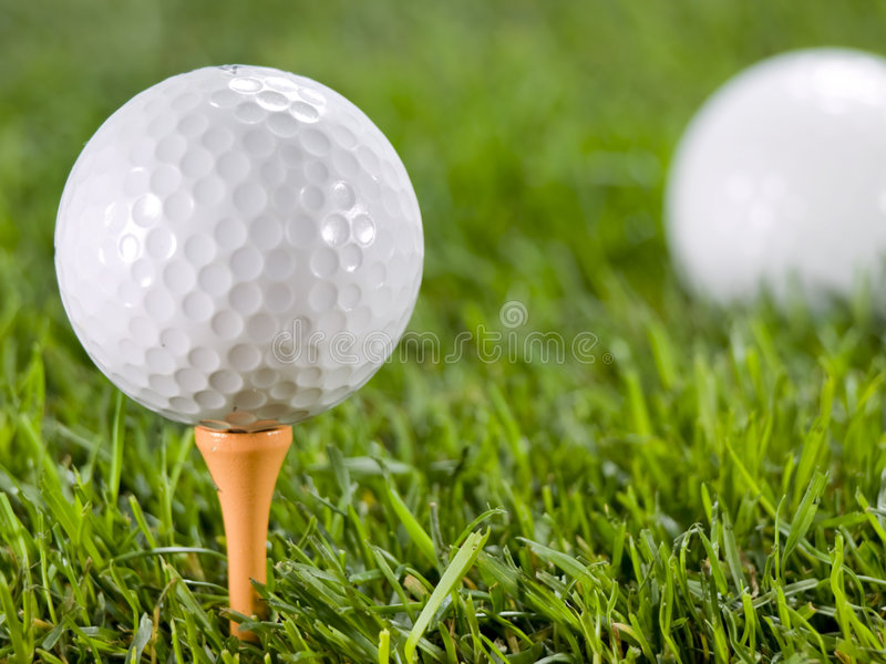 Download Golfball on the grass. stock photo. Image of green, tranquility - 4823240