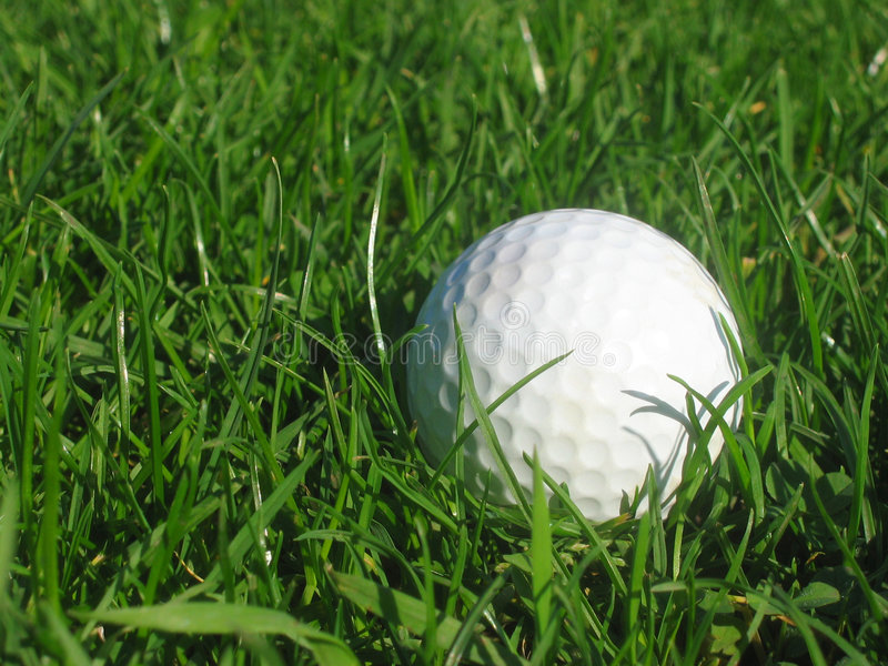 Golfball in grass royalty free stock photo