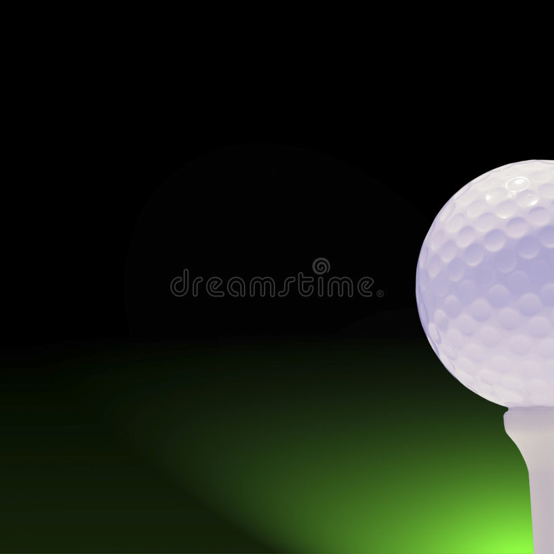 Golfball on green and black stock images