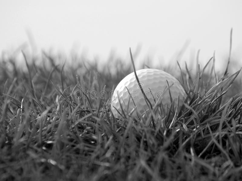 Golfball im Gras stockfotos
