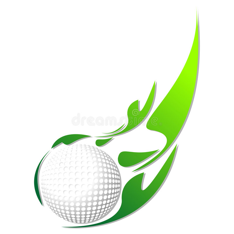 Golfball mit grünem Effekt vektor abbildung