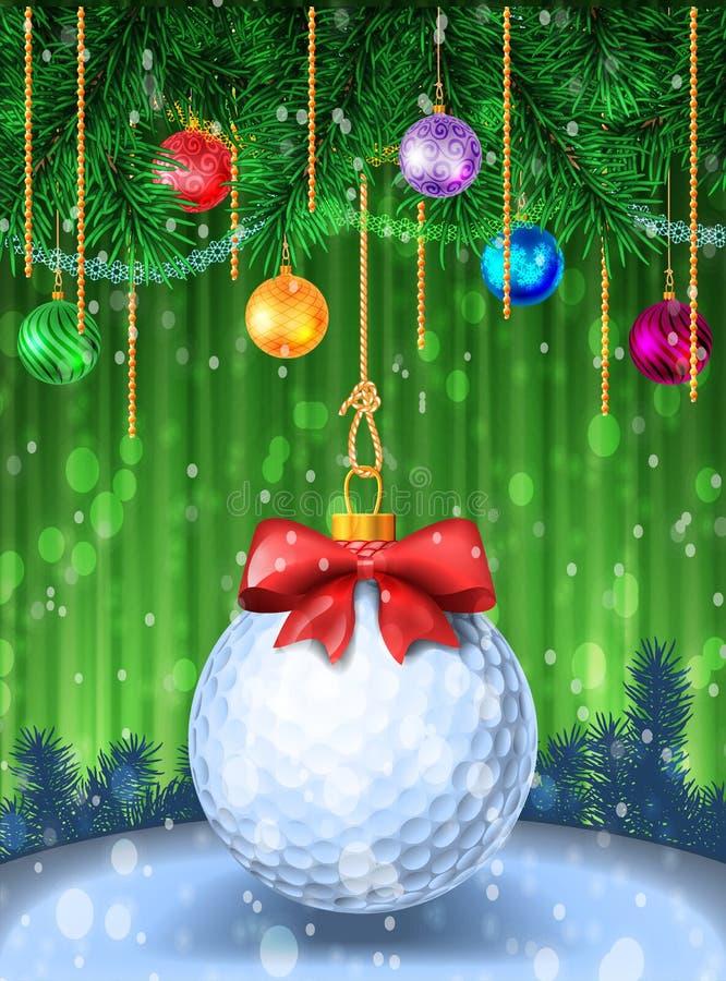 Golfball mit rotem Bogen vektor abbildung