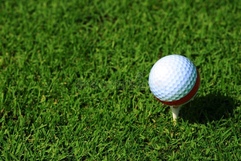 Golfball op T-stuk. stock afbeelding