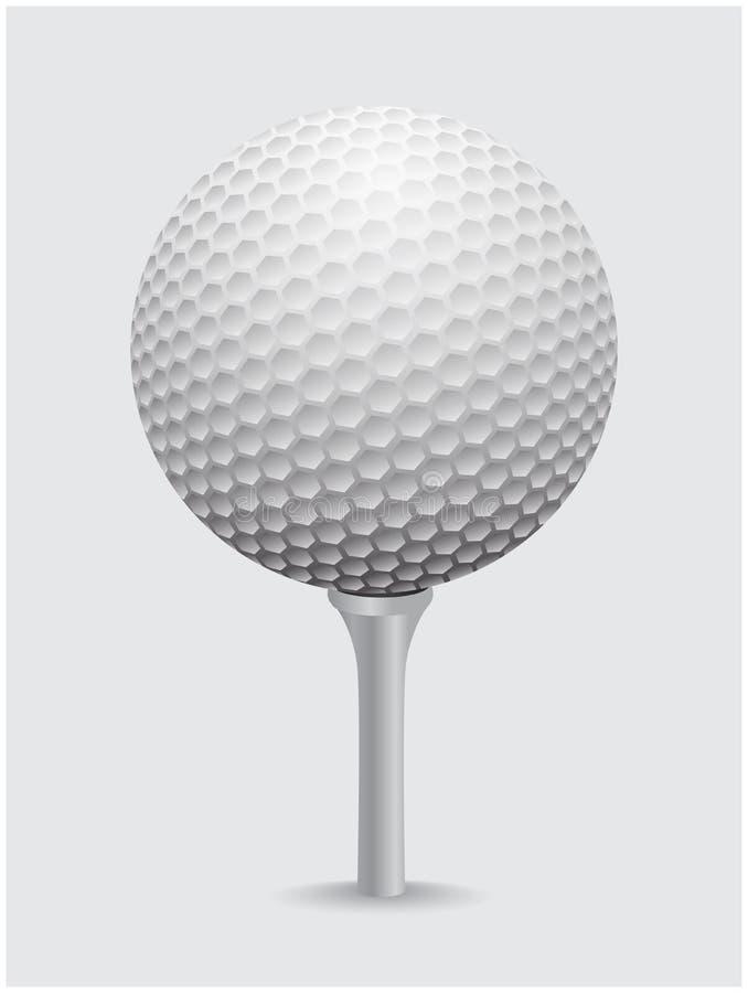 Golfball realistische vector Beeld van enig golfmateriaal op kegelbal royalty-vrije illustratie