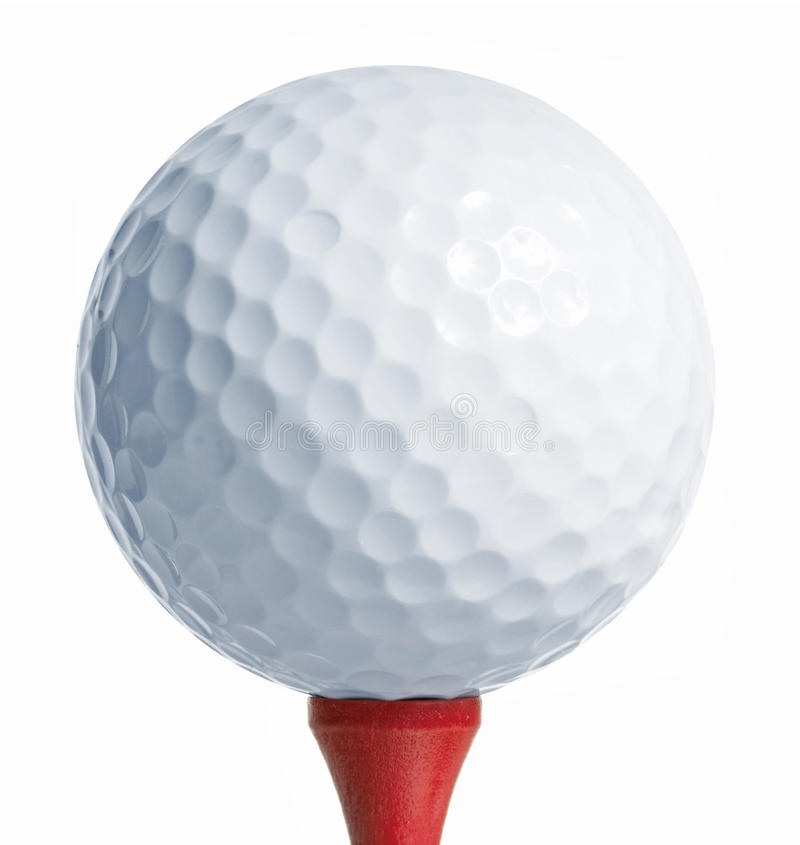 Golfball On Red Tee Stock Photo