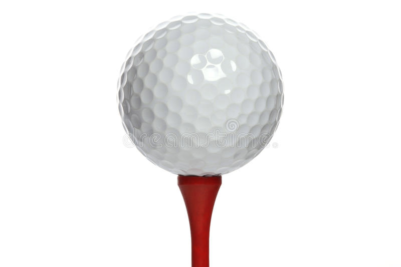 Golfball On Red Tee Stock Images