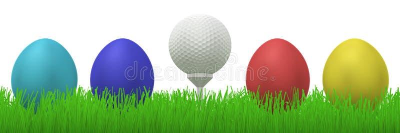 Golfball tussen paaseieren stock illustratie