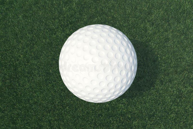 Golfball und Ball der Illustration 3D im Gras, Abschluss herauf Ansicht über das T-Stück bereit, Schuss zu sein Draufsicht des Go vektor abbildung