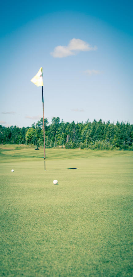 Golfball und Grün lizenzfreie stockfotografie
