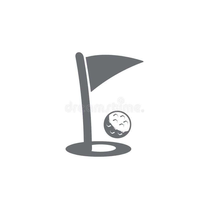 Golfball- und Lochikone Einfache Elementillustration Golfball- und Lochsymboldesignschablone Kann für Netz und Mobile verwendet w lizenzfreie abbildung