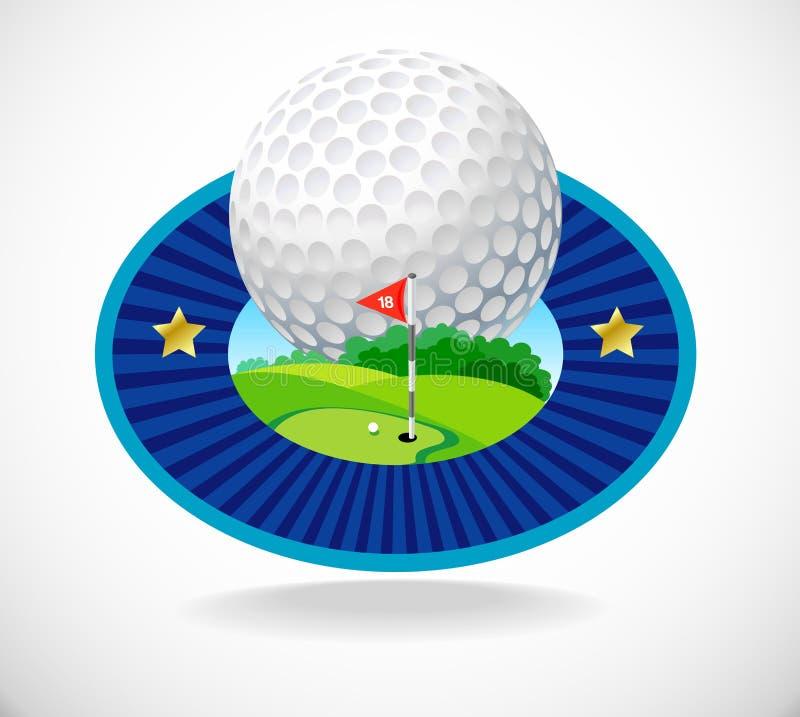 Golfball und schöner Golfclub vektor abbildung