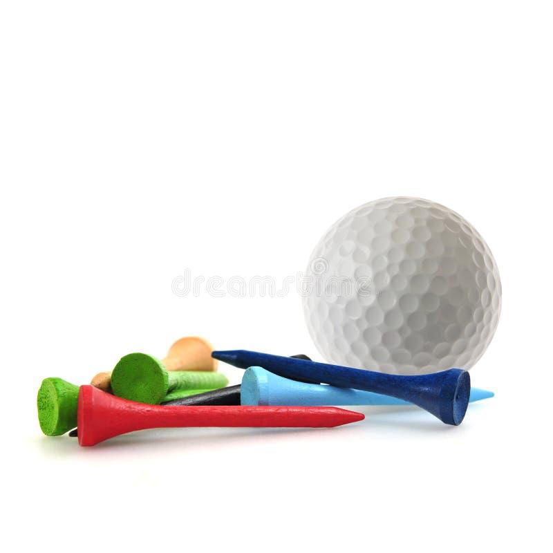 Golfball und T-Stücke stockfotos