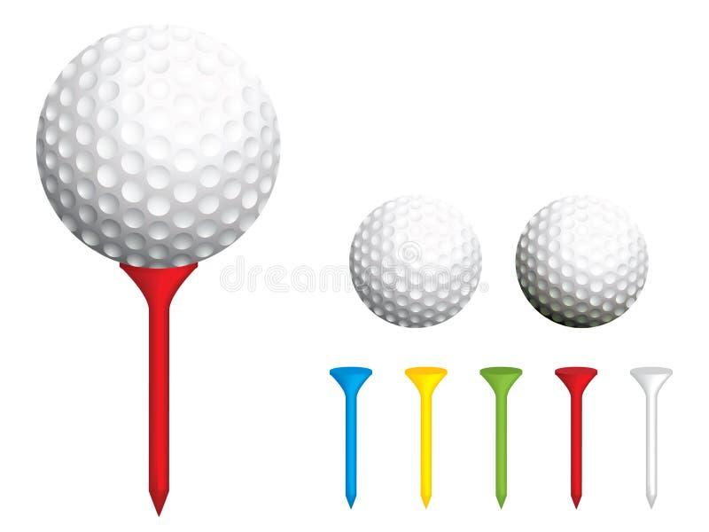 Golfball und T-Stücke lizenzfreie abbildung