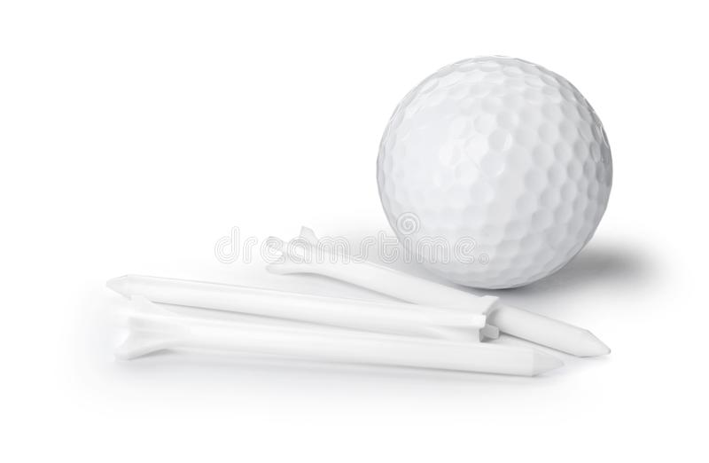 Golfball und T-St?cke auf wei?em Hintergrund lizenzfreies stockbild