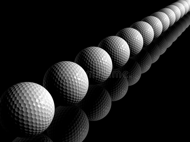 Golfballen in een lijn stock afbeelding