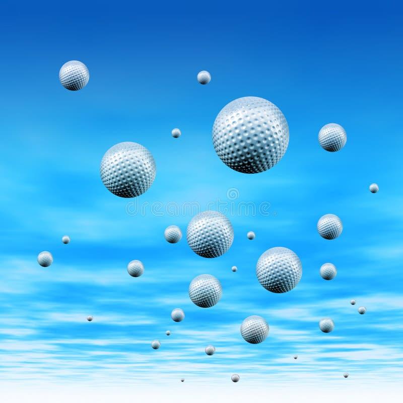 Golfballen in hemel stock illustratie