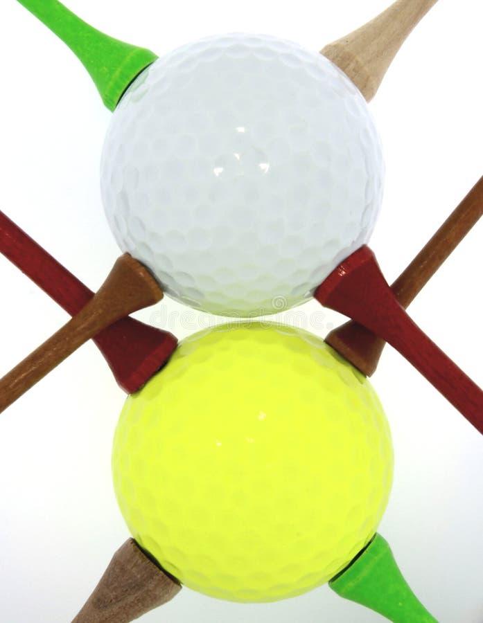 Golfballen met Geassorteerde T-stukken stock fotografie