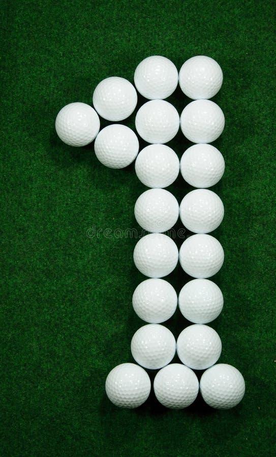 Golfballs als aantal  stock afbeeldingen