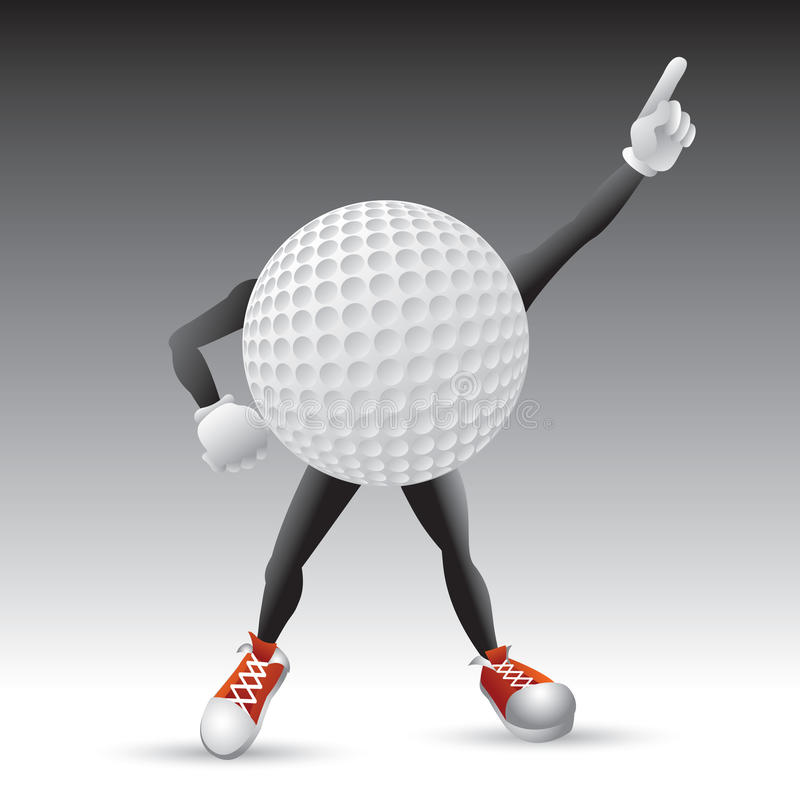 Golfballzeichen, das eine Haltung schlägt lizenzfreie abbildung