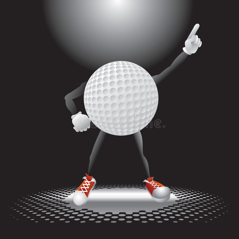 Golfballzeichen unter dem Scheinwerfer vektor abbildung