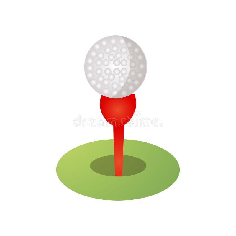 Golfbalpictogram op rood T-stuk, groen grasgebied vector illustratie