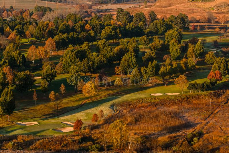 Golfbana Autumn Fall Colors arkivbild