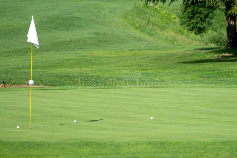 Golfbana golfgräsplan med flaggan i hålet fotografering för bildbyråer