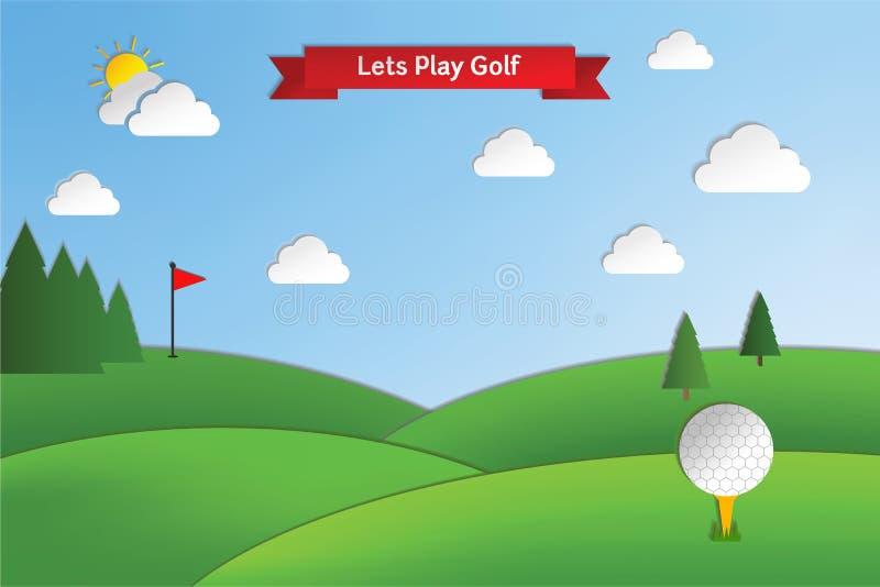 Golfbana i stil för pappers- hantverk vektor illustrationer