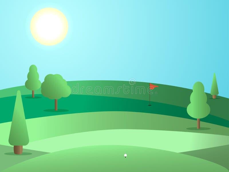 Golfbana med ett hål och en röd flagga Landskap med gräsplanfält och träd solig dag vektor vektor illustrationer