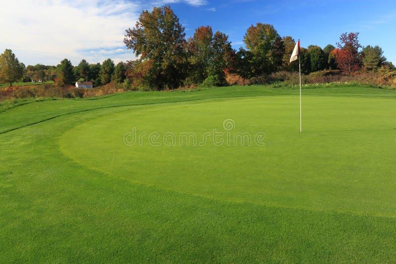 Golfbana med flaggan royaltyfri foto