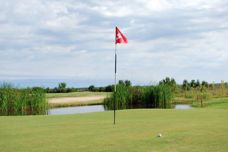 Golfbana med flaggan och bollen royaltyfria foton