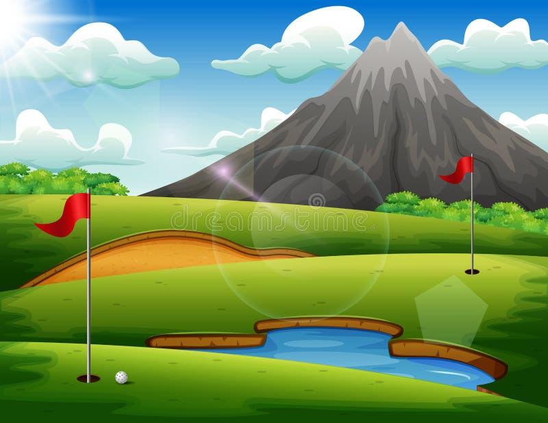 Golfbana med härligt landskap vektor illustrationer