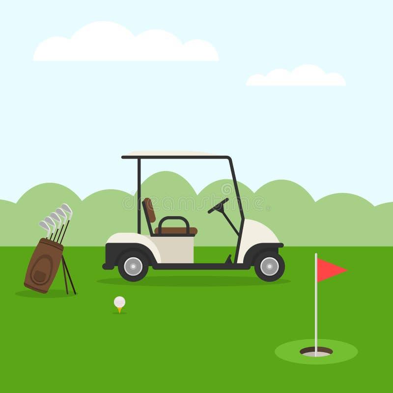 Golfbana och bil royaltyfri illustrationer