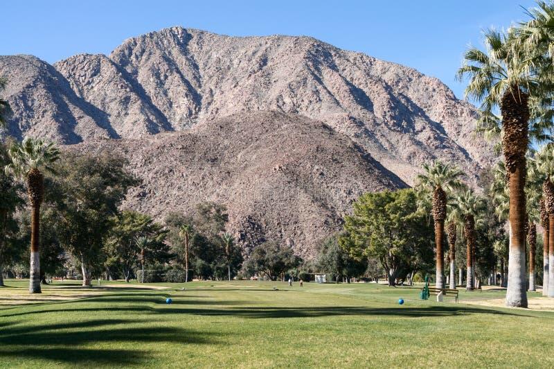 Golfbana på Borrego Springs, Kalifornien arkivbilder