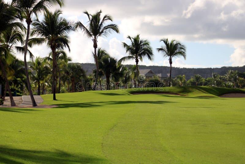 Golfbana på den karibiska ön med havet i baksidan arkivbilder