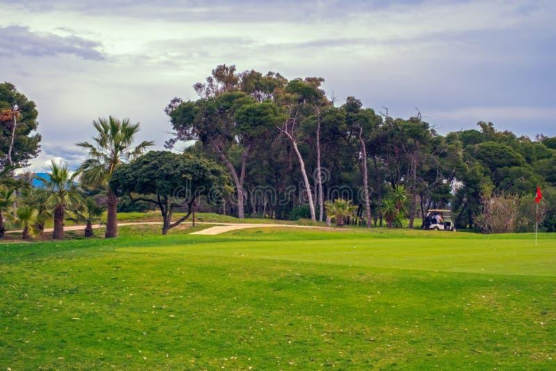 Golfbanapanorama arkivfoton