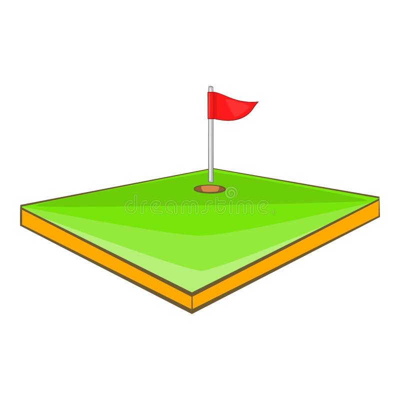 Golfbanasymbol, tecknad filmstil royaltyfri illustrationer