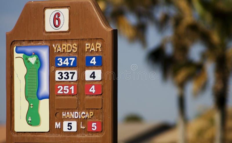 GolfbanaYardagemarkör royaltyfri foto